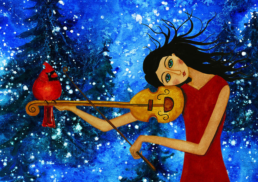 debi-hubbs-children-winter-season-holiday-music-violin-red-bird-melody-art-debi-hubbs